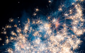 Wallpaper the sky, fireworks, Starfield