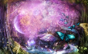 Picture forest, trees, butterfly, Art, art