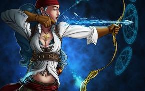 Picture ice, girl, bow, arrow, pentagram, pirates