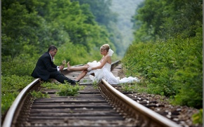 Picture background, situation, Wallpaper, wedding, the bride and groom on the rails