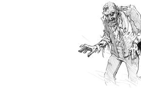 Picture zombie, black, clothing, white