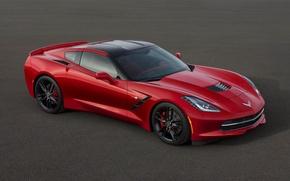Picture machine, auto, red, chevrolet, c7 corvette