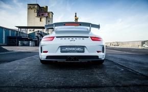 Picture Porsche, white, Porsche, GT3, rear, 991