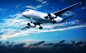 Picture clouds, flight, sunset, the plane, in the sky, passenger, airliner