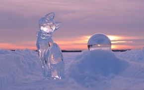 Picture winter, cat, snow, sunset, ball, ice, sculpture