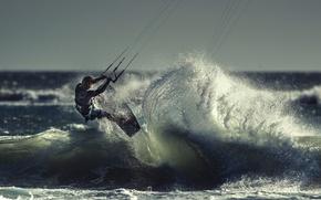 Picture wave, athlete, kitesurfing, kitesurfing