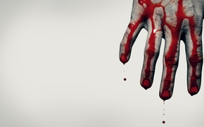 Picture blood, hand, Situation, grey background