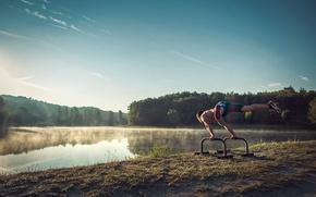 Picture fog, lake, morning, athlete