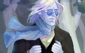 Picture scarf, art, glasses, male, beard, Adventure Time, Adventure Time, Ice King, Zapekanka's, Simon Petricov