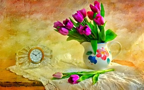 Picture flowers, table, watch, texture, tulips, pitcher, still life