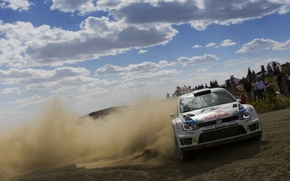 Picture The sky, White, Volkswagen, Machine, People, Race, Skid, Day, WRC, Rally, Rally, Polo, S. Ogier