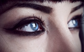 Picture Shelley Moore, brows, female, face, woman, girl, make up, eye, close-up, blue eyes
