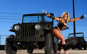 Wallpaper blonde, Wire, Weapons, Jeep