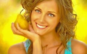 Picture portrait, joy, smile, Pear, fruit.