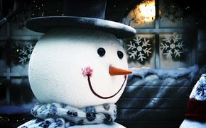 Picture snowflakes, new year, snowman, in the header, Christmas background, nose-carrot, the scarf