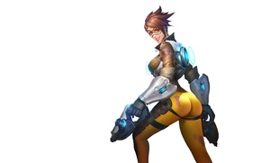 Picture guns, girl, game, ass, chest, straps, tight, tracer, overwatch