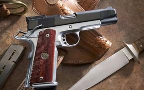 Wallpaper gun, knife, shop, case