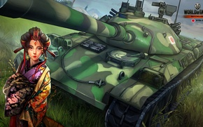 Wallpaper Nikita Bolyakov, Japanese, art, Japanese, average, World of Tanks, figure, girl, tank, STB-1