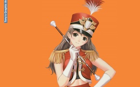 Picture girl, gloves, form, orange background, rod, art, badge, Tony Taka, kiver, epaulettes, hackle