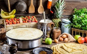 Picture apples, eggs, strawberry, pineapple, nuts, banana, pancakes, parsley, the dough, Basil