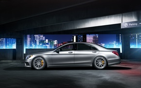 Picture Mercedes-Benz, night, parking, profile, S63