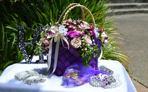 Picture decoration, tape, bouquet, rhinestones, bag, jewelry, Roses, Jewelry, Bouquets