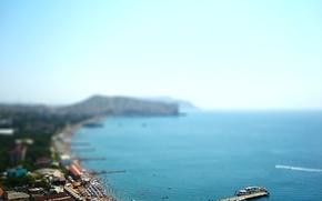 Wallpaper Sea, pierce, promenade, Crimea, Sudak, tilt-shift