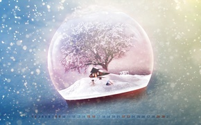 Picture winter, snow, house, tree, new year, Christmas, snowman, new year, the snow, calendar, December, merry …