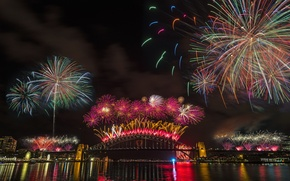 Picture night, bridge, lights, Australia, Sydney, fireworks, fireworks, Harbour Bridge, 2015
