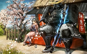 Picture girl, bird, sword, katana, petals, Sakura, warrior, art, Sparrow, samurai, characters, banner, vanipo