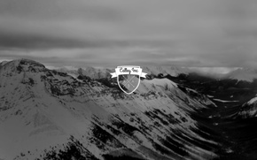 Picture logo, mountains, blur, black and white
