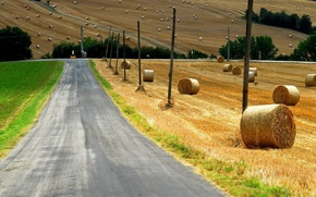 Picture grass, field, landscape, nature, Road, countryside, straw, bales, poles, wheat straw