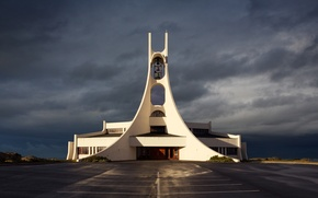 Picture white, design, clouds, Iceland, architecture, bell, bells, Church, structure, Framnes, parking lots