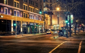 Picture road, light, machine, night, the city, people, street, building, home, lighting, traffic light, Chicago, USA, …