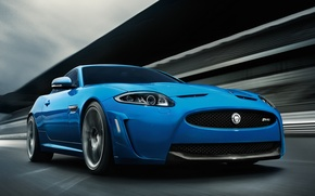 Picture Road, Blue, Machine, Jaguar, Movement, Car, Car, Blue, Jaguar XKR-S