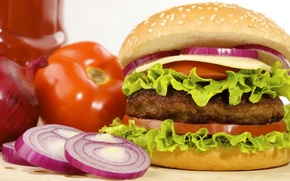 Picture cheese, bow, tomatoes, hamburger, Patty, roll, fast food, lettuce, fast food, hamburger