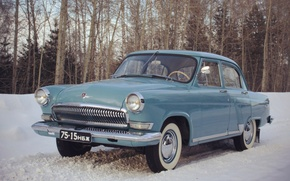 Picture snow, retro, background, Wallpaper, USSR, car, legend, Volga, Volga, GAZ 21