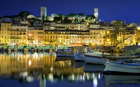 Picture night, lights, France, home, boats, harbour, old town, Provence-Alpes-Cote d'azur, Cannes, Alpes-Maritimes, Suquet