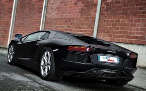 Picture lamborghini, rear view, brick wall, aventador, lp700-4, Lamborghini, aventador, matte black, black matte