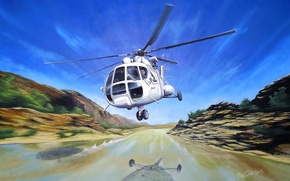 Picture art, helicopter, USSR, BBC, list, OKB, Russian, multipurpose, Mi-8, for, Soviet, is, the, the world, ...
