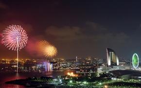Wallpaper salute, Japan, Fireworks. Yokohama, Kanagawa, fireworks, Japan