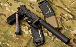Wallpaper muffler, Gun, flashlight, camouflage