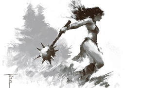 Picture girl, weapons, background, warrior, Mace