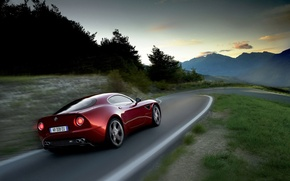 Wallpaper road, mountains, red, speed, alfa romeo, 8c competizione