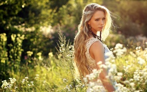 Picture girl, nature, blonde