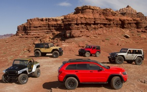 Picture auto, jeep, cars, SUVs, suv, lineup, Jeep, mix, Grand Cherokee Trailhawk II, Wrangler Stitch, Concepts, …