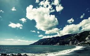 Wallpaper beach, clouds, shore, Sea