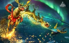 Picture sea, balls, ship, New year, holidays, New year, Wargaming, worldofwarships