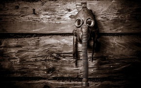 Picture background, wall, gas mask