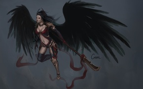 Picture look, girl, weapons, background, art, fallen angel, black wings